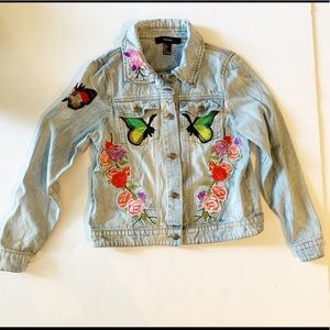 Forever 21 Small jean jacket butterfly patches